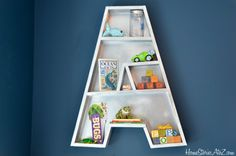 Tutorial on how to build Letter A bookshelf with plans and tips.