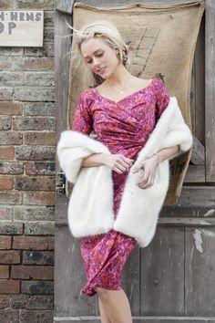Bombshell by Katya Wildman 'Carrie' Liberty Art Fabric dress with Helen Moore ermine faux fur stole