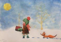 """Today was the first snow in Prague. I have some winter mood this morning. """"Present for a friend"""". #illustration #kidsbooks #girl #fox #christmas #postcards #aquarelle #sketch #snow"""