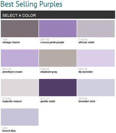 Best selling purples (Benjamin Moore) - My favorites are French Lilac & Lavender Mist