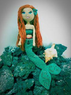 Ariel, la sirenita, crochetdoll, amigurumidoll, muñeca amigurumi, mermaid Ariel