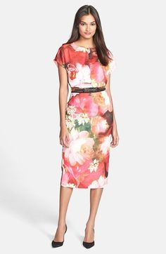 Sometimes you just want to be covered in roses. Ted Baker London 'Rose on Canvas' Print Midi Dress