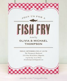 Shop Fish Fry Party Invitations created by UniqueInvites. 90th Birthday Parties, Anniversary Parties, 50th Anniversary, Shrimp Boil Party, Seafood Boil, Custom Invitations, Party Invitations, Invitation Ideas, Fish Fry Party