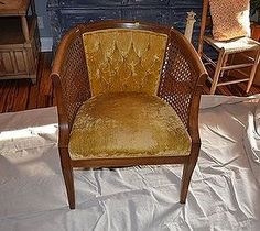Damaged cane chair gets fabric makeover how to..pics