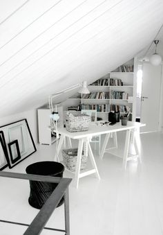 Office area under the roof in black and white via Convoy