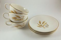 Tea Cups and Saucers, Homer Laughlin Golden Wheat, Rhythm, Vintage 6 Piece Set, Gold Trim, Coffee Cups, 1950s Mid Century Kitchen by BarnabyGlenVintage on Etsy