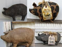 Set of 4 Cave Creek Primitives Pig Bowl Fillers, Primitive Pigs, Country Pigs, Choose Colors