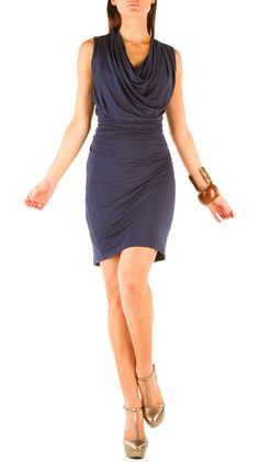 Pleated Cowl Dress - Midnight Navy - not for me until I lose weight!  But cute for you@Kristen Larson