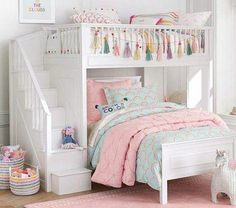 Deciding to Buy a Loft Space Bed (Bunk Beds). – Bunk Beds for Kids Bunk Beds For Girls Room, Bunk Bed Rooms, Bunk Beds With Stairs, Kid Beds, Bunk Bed Decor, Cute Beds For Girls, Girl Loft Beds, Bed For Kids, Teen Bunk Beds