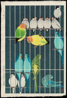 笠松紫浪 Shiro Kasamatsu ( 1889-1991 ) とりかご Bird Cage, 1957