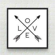 Quadro Love Flecha Branca by Print & Co