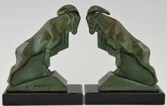 French Art Deco ram bookends by Max Le Verrier, 1930 original