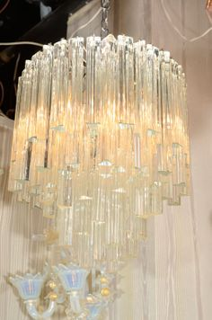 Venini Trilobi Glass Prism Chandelier | From a unique collection of antique and modern chandeliers and pendants  at http://www.1stdibs.com/furniture/lighting/chandeliers-pendant-lights/