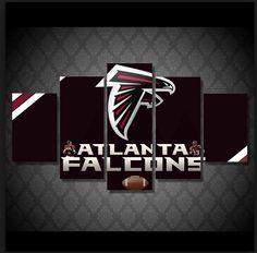 Atlanta Falcons NFL Football 5 Panel Canvas Wall Art Home Decor