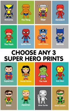 Super Hero wall art, kids wall art, Batman, Superman, Spiderman, Marvel nursery, Thor, Captain America, Hulk, Iron Man, Wolverine,