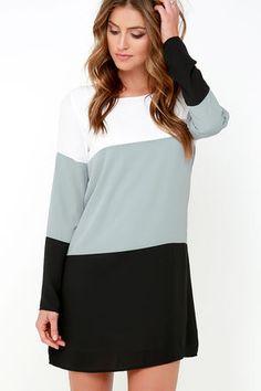 Cute Grey and Black Dress - Shift Dress - Long Sleeve Dress - $40.00