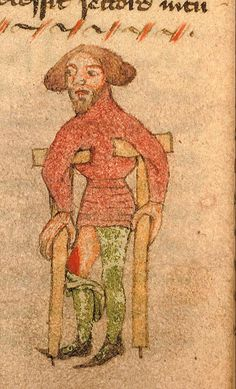 Man on crutches. Small drawing in John Arderne's Liber Medicinarum. Early 15th century @BLMedieval Sloane56.