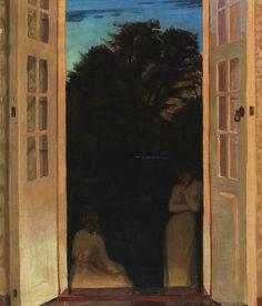 .:. Evening with two women conversating, Harald Slott-Möller. Danish (1864 - 1937)  - Oil on Canvas -