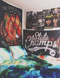 Bedroom wall - TSSF banner, State Champs flag! I just started listening to State Champs :D