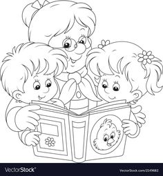Illustration of Grandma and grandchildren reading vector art, clipart and stock vectors. Family Coloring Pages, Cute Coloring Pages, Disney Coloring Pages, Adult Coloring, Coloring Books, Grandparents Day Crafts, Coloring Pages Inspirational, Doodle Designs, Digi Stamps