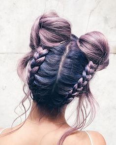 Love this hairdo. So adorable #hairstyle #purple