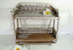 Vintage White & Brown Wood and Wicker Shelf  Retro by DivineOrders, $33.00