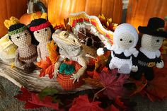 So as some of you know I have been working on a Norbert Calendar of sorts… essentially our bearded dragon dressed up in crochet with other crochet items around him. Silly, yes, but it has been so fun honestly. Well I was on to month November and could not find a set of Pilgrims and Indians (those being the hardest) that would work. In typical fashion then here goes my own pattern in case others need or want to make up some. They should be roughly 6 inches tall, but the hats make them a…