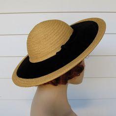 0996850ffe0 Vintage Straw Hat 1940s Hattie Carnegie Wide by abbeysaccessories