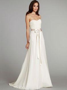 Holy Goddess A-line Scoop Neckline Sweep Traon Chiffon Wedding Dress