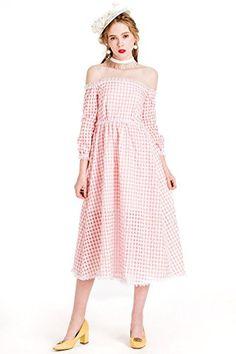 YIGELILA New Summer Cute Pink Plaid Long Sleeve Cocktail ... http://a.co/62VNtYE