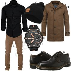 26b96aa55c3 Brown-Black Men  Outfit with Shirt and Wool Coat .