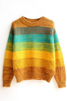 Stripe Color Block Round Neck Long Sleeve Sweater - Beautifulhalo.com