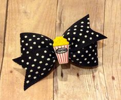 Popcorn Hair Bow, Popcorn dog bow, Movie Night hair bow, Black and white hair bow, clip, headband, Ponytail, pigtails, Collar bow by CreateAlley on Etsy