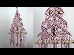 Macrame Christmas Tree No. 3 / Macrame Tree # 3 - Drawing Still 2020 Macrame Wall Hanging Patterns, Macrame Art, Macrame Projects, Macrame Patterns, Macrame Knots, Macrame Modern, Ribbon On Christmas Tree, Christmas Tree Decorations, Christmas Crafts