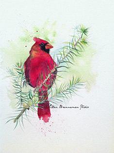 Title:  The Keeper Ellen Brenneman Studio #cardinal #birdart