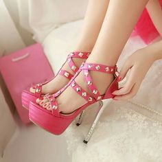 Pink and silver studded heels #Shoes @JenniferW