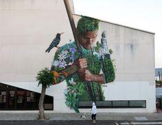 Tanausú, naturaleza aborigen, mural para el festival depaso en la Palma , el Paso Casa de la Cultura