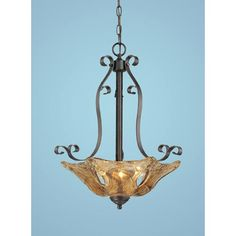 Chatsworth Burnished Gold Three-Light Pendant with Umber Swirl Glass