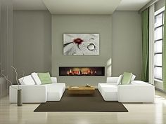 Decorations: Modern Electric Fireplace In Great Painted Wall Interior For Small Living Room With Ceramic Floor With Soft Carpet Used Some Small Flowers Vase With Small Chairs from Modern Electric Fireplace Designs See More. Living Room Green, Interior Design Living Room, Living Room Decor, Living Rooms, Interior Minimalista, Indoor Electric Fireplace, Electric Fireplaces, Puzzles 3d, Fireplace Design