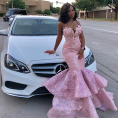 Pink lace prom dresses sweetheart neckline lace ruffle mermaid evening dresses fashion evening gowns - Wedding World Black Girl Prom Dresses, African Prom Dresses, Prom Dresses Two Piece, Cute Prom Dresses, Prom Outfits, Party Dresses, Dresses Dresses, Occasion Dresses, Dresses Online