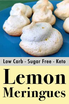 These low carb lemon meringue cookes are zero carb treats are crispy and light and full of lemony flavor. And each cookie has about net carbs. These are the best low carb cookies you can make. Keto Friendly Desserts, Low Carb Desserts, Paleo Recipes, Low Carb Recipes, Dessert Recipes, Health Recipes, Brownie Recipes, Dessert Ideas, Lunch Recipes