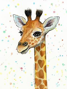 Baby Giraffe Watercolor Art Print Heart-Shaped by OlechkaDesign