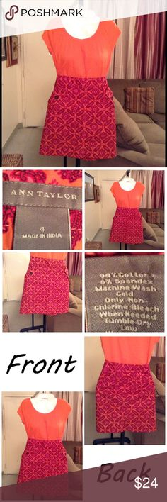 """Ann Taylor Skirt Skirt is 94% cotton and 6% spandex. Size 4. Zipper on left side. Laying flat """"15. Length """"18.5. Colors are: Orange/pink/raspberry design. Has 4 pockets. This Item is not new, It is used, Authentic and from a Smoke And Pet free home. All Offers through the offer button ONLY. I Will not negotiate Price in the comment section. Thank You😃 Ann Taylor Skirts"""