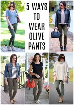 Olive pants or jeans are a great wardrobe essential to have in your arsenal, especially as we head into spring. I tend to pair mine with other neutrals, but you can definitely throw in a pop of color or leopard print here and there.Here are 5 ideas for ways to style your olive pants this season