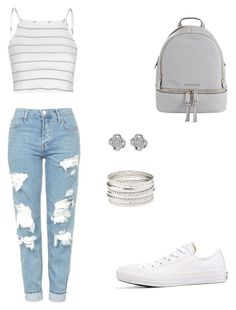 Casual Outfit - white striped shirt with ripped jeans Cute Comfy Outfits, Girly Outfits, Classy Outfits, Cool Outfits, Summer Outfits, Trendy Fashion, Fashion Outfits, Womens Fashion, Fashion Styles