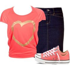 A fashion look from September 2014 featuring Molly Bracken t-shirts and Converse shoes. Browse and shop related looks.