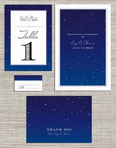 Stars Wedding Invitation 4-Pack Coordinating Pieces: Program, Table Numbers, Seating Card, Thank You Card // Printable PDF - Night Sky