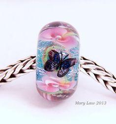 Pink Butterfly Garden Floral Glaslight Artisan Handmade Lampwork Glass Murano Dichroic Sparkle Bead SRA...