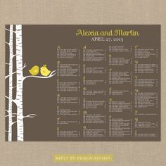 Wedding Seating Chart For the Birds  by replybydesignstudio, $40.00