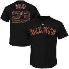 Norichika Aoki San Francisco Giants Majestic Youth Player Name & Number T-Shirt - Black - $13.99